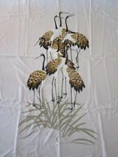 "SB  2 FABRIC PANELS 64"" X 45""  EMBOSSED CRANES HERONS CREAM FRONT BACK HANGING"