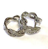 925 Sterling Silver .20ct SI1 H diamond twisted hoop huggie earrings 4.6g