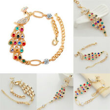 Women Colorful Rhinestone Crystal Peacock Gold Bracelet Bangle Jewelry Hot Gift