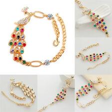 Women Colorful Rhinestone Crystal Peacock Gold Bracelet Bangle Jewelry Hot Gift