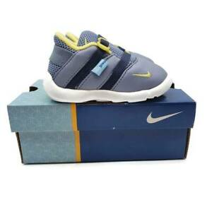 Nike Play Kids Shoes Gray Yellow Adjustable Buckle Breathable Round Toe 4C New