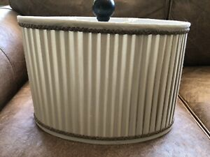 """Medium Size Oval Cream Colored Pleated Fabric Lamp Shade With Gold Trim 9"""" Tall"""