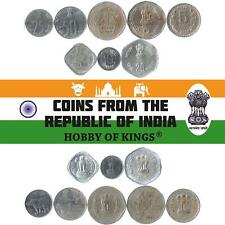 SET OF 8 COINS FROM INDIA. 5, 10, 20, 25, 50 PAISE, 1, 2, 5 RUPEES. 1982-2004