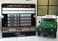 Land Rover Defensor 110 130 Resistente Acople Chasis Información Placa
