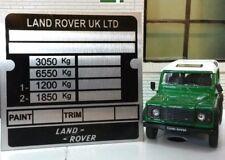 Land rover defender 110 130 heavy duty cloison châssis plaque signalétique plaque