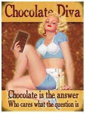 Chocolate Diva Retro 50's Pinup Funny Kitchen Cafe Diner Novelty Fridge Magnet