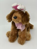 "Dan Dee Plush Brown Puppy Dog with White/Pink Bunny Ears8"" Soft Stuffed Animal"