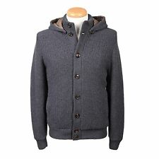 Brunello Cucinelli Gray 100% Cashmere Hooded Knit Jacket IT 56 US 46 BCCA6