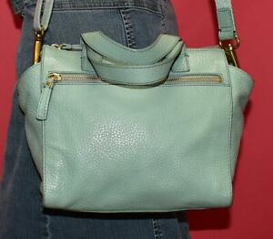 FOSSIL TESSA Light Blue Pebbled Leather Shoulder Satchel Cross-body Purse Bag