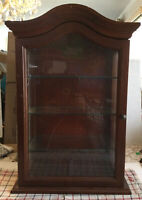 WOODEN AND GLASS WALL OR TABLETOP CABINET SINGLE DOOR 3 SHELF 23 X 15.5 X 8""