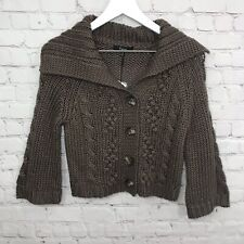 Express Cardigan Sweater Womens Size Small Brown Wool Cable Knit Button NWT NEW