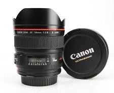 Canon EF 14mm F2.8 L II USM Mark II Autofocus Prime Lens + F/R Lens Caps - EXC