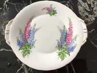 Vintage Aynsley 1930's Art Deco Delphiniums Bread & Butter Plate  Or Cake Plate