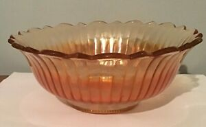"Vintage Marigold Carnival Glass BOWL  Ribbed / Scalloped Edge  - 7 1/2"" Pedestal"