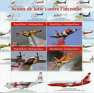 Madagascar Aviation Stamps 2020 CTO Firefighting Aircraft Helicopters 4v M/S