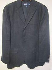 M 100% Linen Polo Ralph Lauren Blue Label Black Mens Blazer Jacket medium