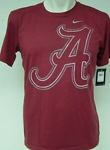 "NEW Kids Youth Boys NIKE Univ Alabama Giant ""A"" Logo Crimson NCAA Tee T-Shirt"