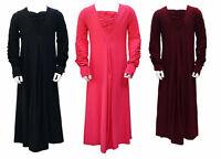 Girls Maxi School Dress Kids Ruched Long Sleeve Holiday Abaya Islamic Top
