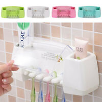 Self-adhesive 2 Toothpaste + 5 Toothbrush Holder Wall Mount Stand Organiser Tool