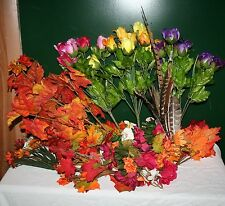 """Lot of 45 SILK FLOWERS PHEASANT FEATHERS FLORAL FOAM FALL LEAVES 6""""-20"""" NEW!"""