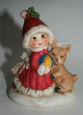 Christmas Figurine of Little Girl in Red Coat & Hat with Ball and a Little Deer