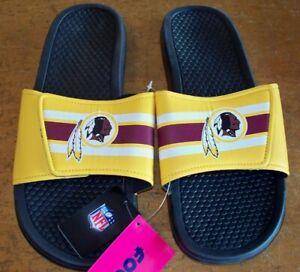 NEW Mens XL 13-14 NFL WASHINGTON REDSKINS Slide Shower Slide Shoes Sandals FOCO