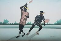 Signed Woodville African American TENNIS PLAYERS Original Black Art Painting
