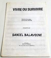 Partition vintage sheet music DANIEL BALAVOINE : Vivre ou Survivre * 1982