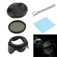 52mm UV FLD CPL Circular Polarizing Filter Kit Set + Lens Hood For Canon Camera