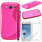 Housse Etui Coque Silicone Rose Samsung Galaxy S3 i9300 + Stylet + 3 Films