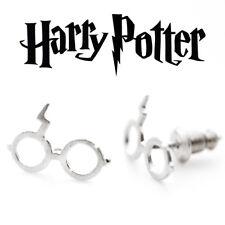 HARRY POTTER Stud Earrings - Silver Plated -Glasses & Lightning Scar-Womens Kids