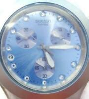 Women Watch Swatch Diaphane Blue Swiss Chrono Glow WR Analog Quartz New Battery