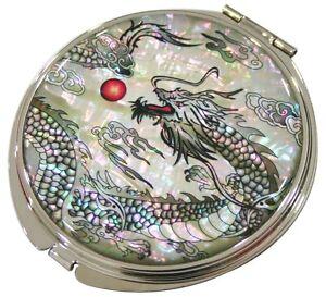 Makeup Cosmetic portable Vanity Compact magnifying mirrorblack dragon #52