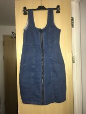 Blue Denim Quiz Bodycon Zip Up Dress Size 10