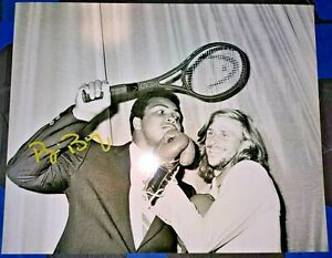 BJORN BORG SWEDISH TENNIS HOF ICON SIGNED AUTOGRAPHED 8X10 PHOTO W MUHAMMAD ALI