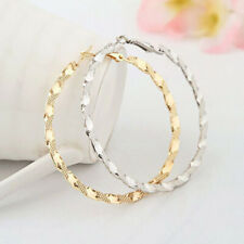 Women Fashion Jewelry Gold Silver Twist Big Round Circle Dangle Hoop Earrings