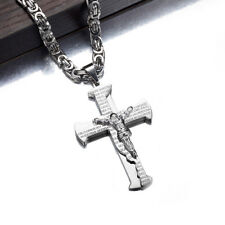 Men Stainless Steel Jesus Cross Bible Prayer Pendant Byzantine Chain Necklace