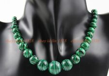62# Handmade Attractive 6-14mm Green Malachite Tower chain Necklace  18''