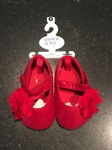 Crown And Ivy Baby Girl Shoes Red Glitter Mary Janes Size 2 Christmas Holiday