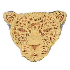 leopard applique large gold sequins tiger head sew on embroidered DIY patches