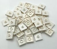 LEGO 50 WHITE 2 X 2 TILES WITH CENTER 1 STUD JUMPER PIECES