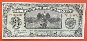 Mexico Bank 1914 Note 5 Pesos Ejercito Constitucionalista de Mexico Crisp UNC