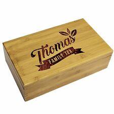 Engraved Tea Storage Box and Bag Holder Organizer, Housewarming Kitchen Mom Gift