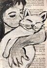 Original ACEO Painting Cat Black White Kitten Miniature Art By Carole Collins
