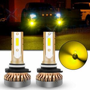 For Ford F150 F250 F350 Super Duty Golden Yellow 9145 H10 LED Fog Light Bulbs 2x