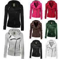 Womens Plain Oblique Zip Up Hoodie Sweatshirt Fleeces Hooded Jacket Sweater Tops