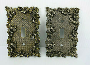 VTG SET OF 2 1960'S FLORENTA OF CALIFORNIA GOLD PLATED BRASS SWITCH COVER PLATE!