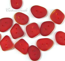 Buttons, Free Form, 2 Hole, Sea Glass, Clothing Buttons, CHERRY RED, 6 Pieces