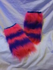 Fluffy Rave Leg Warmers pink and purple strips