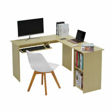 Large L Shape PC Computer Table Desk Book Shelves Office Study Workstation
